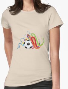 Soccer Ball with Brush Strokes Womens Fitted T-Shirt