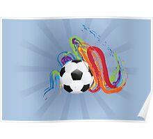 Soccer Ball with Brush Strokes Poster