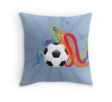 Soccer Ball with Brush Strokes Throw Pillow