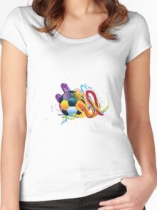 Soccer Ball with Brush Strokes 2 Women's Fitted Scoop T-Shirt