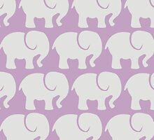 Troop Of Elephants (Elephant Pattern) - Gray Purple by sitnica