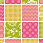 Zigzag, Polka Dots, Gingham - Green Pink Yellow by sitnica