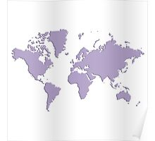 World With No Borders - light purple Poster