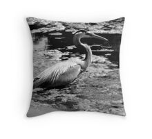Blue Heron Black&White Throw Pillow