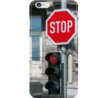 Red traffic light. iPhone Case/Skin