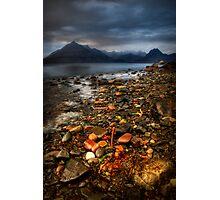 On the shore at Elgol, Loch Scavaig. Isle of Skye, Scotland Photographic Print