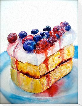 Delicious....Lucious Layer Cake with Berries and Whipped Cream by  Janis Zroback