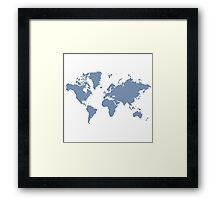 World With No Borders - powder blue Framed Print