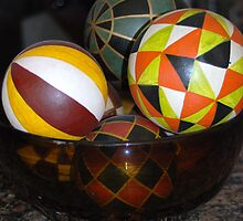 Mexican Wooden Bowl with Ball Decor by LenaHunt