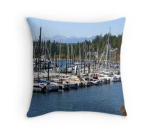 Sail Boats in the Harbor Throw Pillow