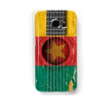 Old Vintage Acoustic Guitar with Cameroon Flag Samsung Galaxy Case/Skin