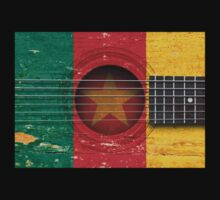 Old Vintage Acoustic Guitar with Cameroon Flag Kids Clothes