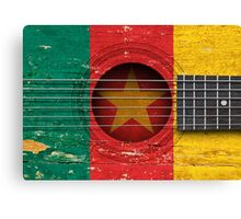 Old Vintage Acoustic Guitar with Cameroon Flag Canvas Print