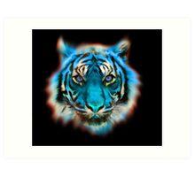 Blue Tiger Face - Fantastic Animal Digital Art Art Print