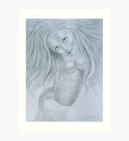 Curious Mermaid (Graphite & White Pastel Chalk) Art Print