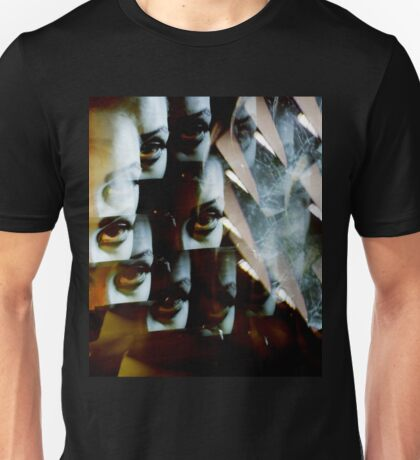 Multi-image surreal portrait of young lady in the dark in surrealist blue green tones Unisex T-Shirt
