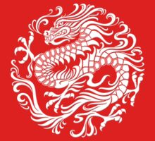 Traditional White Chinese Dragon Circle by Jeff Bartels