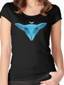 Blue fox mask with moon Women's Fitted Scoop T-Shirt
