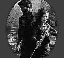 Ellie and Joel Black and White Portrait - TLOU by markomellark