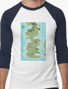 Topographic Map of Westeros Men's Baseball ¾ T-Shirt