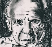 Pablo Picasso Charcoal Sketch by alicemansf