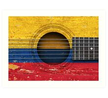 Old Vintage Acoustic Guitar with Colombian Flag Art Print
