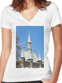 Medieval castle. Women's Fitted V-Neck T-Shirt