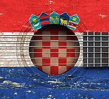 Old Vintage Acoustic Guitar with Croatian Flag by Jeff Bartels