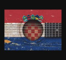 Old Vintage Acoustic Guitar with Croatian Flag Kids Clothes