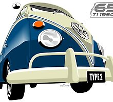 VW Transporter blue - 65th anniversary by car2oonz