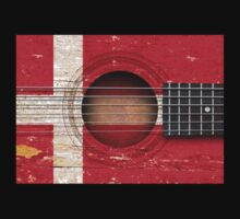 Old Vintage Acoustic Guitar with Danish Flag Kids Clothes