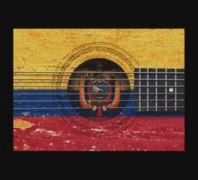 Old Vintage Acoustic Guitar with Ecuadorian Flag Kids Clothes