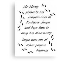 Marauders Map Mr Moony Canvas Print