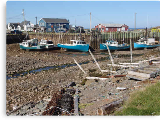 Boats at Low Tide by George Cousins