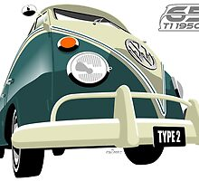 VW Transporter green - 65th anniversary by car2oonz