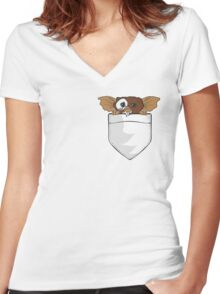 Gizmo In A Pocket Women's Fitted V-Neck T-Shirt