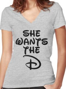 She Wants The D Women's Fitted V-Neck T-Shirt
