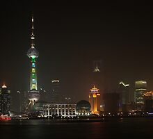 Moonrise over Pudong by Mark Bolton