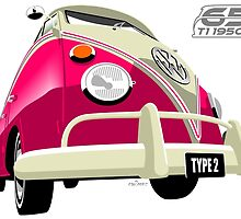 VW Transporter pink - 65th anniversary by car2oonz