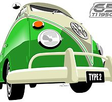 VW Transporter bright green - 65th anniversary by car2oonz