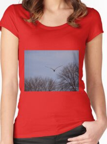 Seagull Over Trees Women's Fitted Scoop T-Shirt