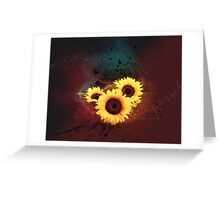 Dark and mysteries sunflower design in geometrical form Greeting Card