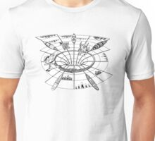 Down and out the wormhole Unisex T-Shirt