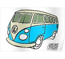 VW Type 2 bus blue Poster