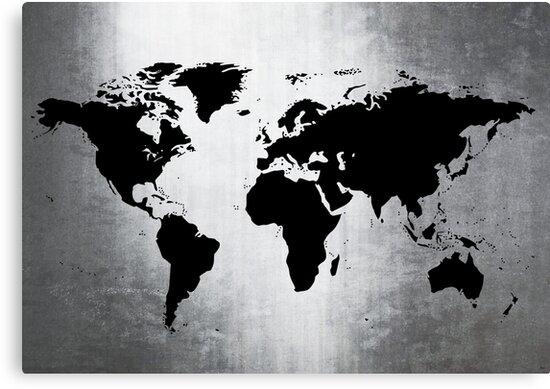 World Map Metal by Roz Abellera Art Gallery
