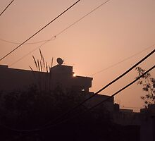 Sun emerging from behind a building right next to a satellite dish by ashishagarwal74