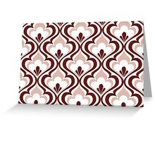 Light Red Geometric Floral Mod Contemporary Retro - Small Print Greeting Card