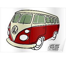 VW Type 2 bus red Poster