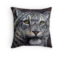Chevron - Snow Leopard Painting with Purple and Gold Chevron Pattern Throw Pillow