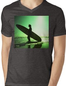 Surfer carrying surfboard in surreal silhouette in green in sea ocean water by beach 35mm analog xpro cross lomo lca photo Mens V-Neck T-Shirt
